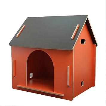 shanzhizui Madera Maciza al Aire Libre Perrera Leñoso Casa de Perro Alfombra Caliente Nido de Gato Casa de Mascotas, Orange, L: Amazon.es: Productos para ...