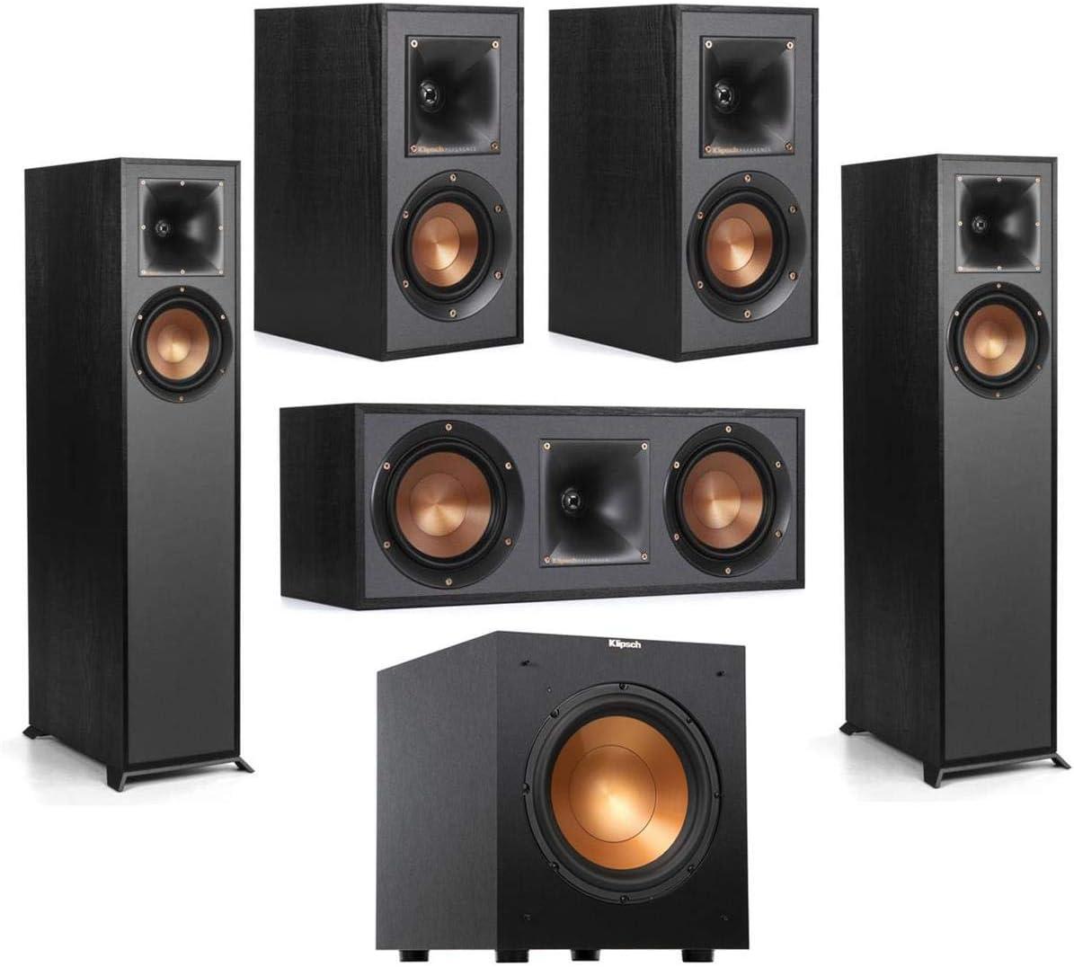 "Klipsch R-610F Floorstanding Home Speaker - Bundle R-52C Center Channel Home Speaker, R-41M Bookshelf Home Speakers (Pair), R-10SW 10"" 300W Powered Subwoofer, Black"