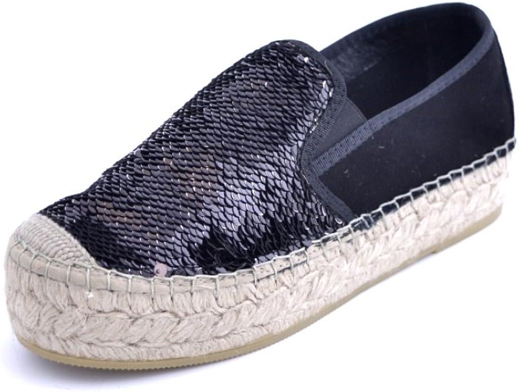 Vidorreta - Espadrillas para mujer, tejido de lentejuelas, color negro, fondo de cuña, goma de 4 cm, fabricado en España Negro Size: 36 EU: Amazon.es: Zapatos y complementos