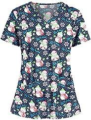 Msaikric Christmas Scrubs Top Nurse Uniforms for Women Print Short Sleeve Thanksgiving Nursing Shirt Uniforme