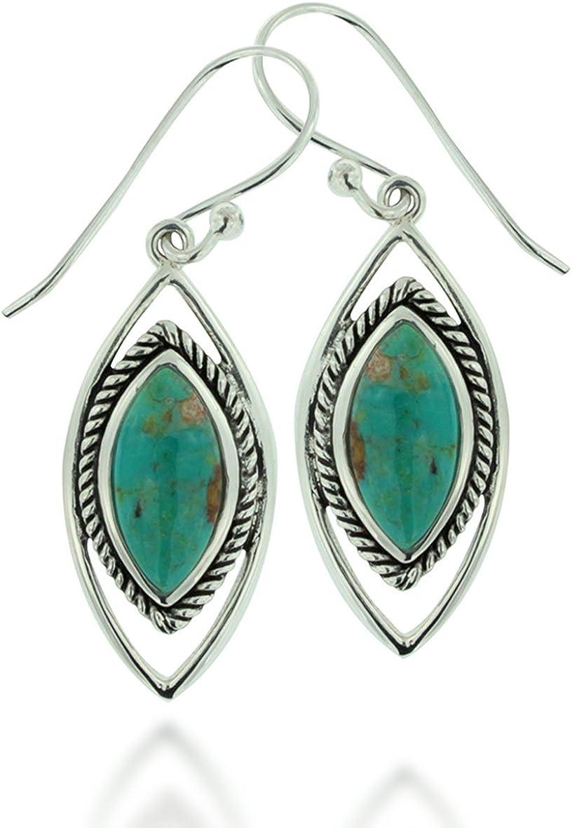 Blue Turquoise 925 Sterling Silver Gemstone Drop Earring