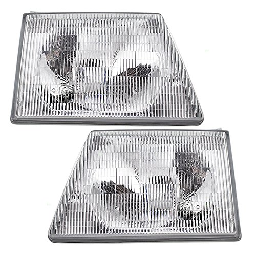 (Driver and Passenger Composite Headlights Headlamps Replacement for Ford Van F6UZ13008BA F6UZ13008AA AutoAndArt)