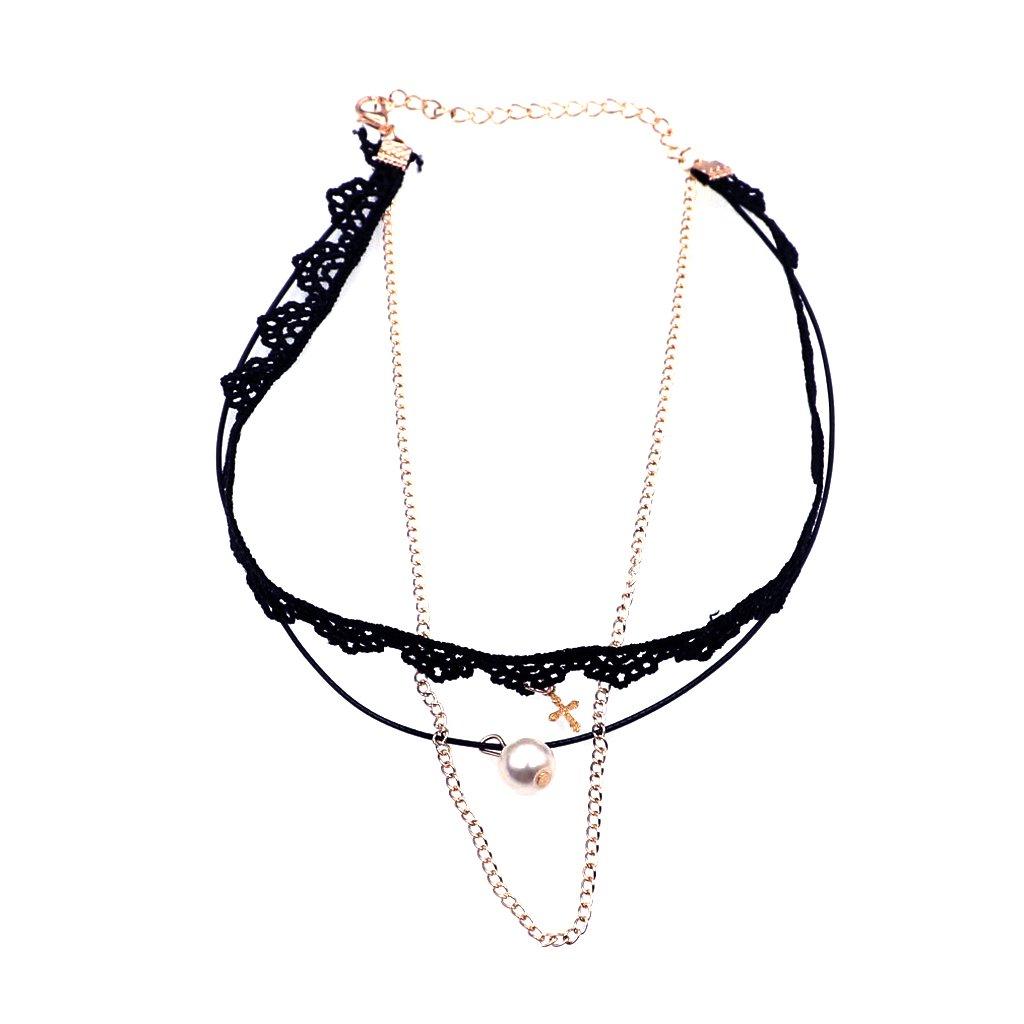 Buy Phenovo Punk Lady Gothic Black Lace Choker Cross Pearl