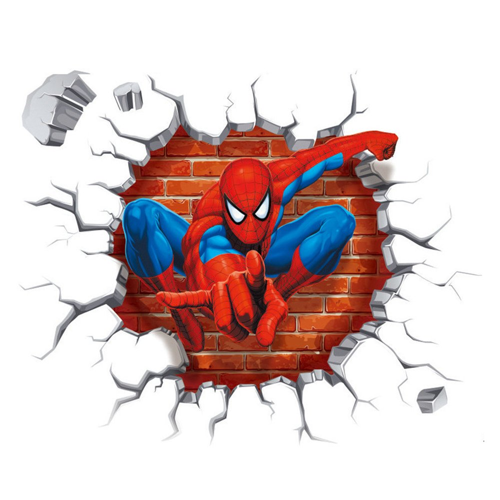 2PCS Spiderman Wall Decals 3D Wall Stickers for Kids Room Polly Online Shop XL0116