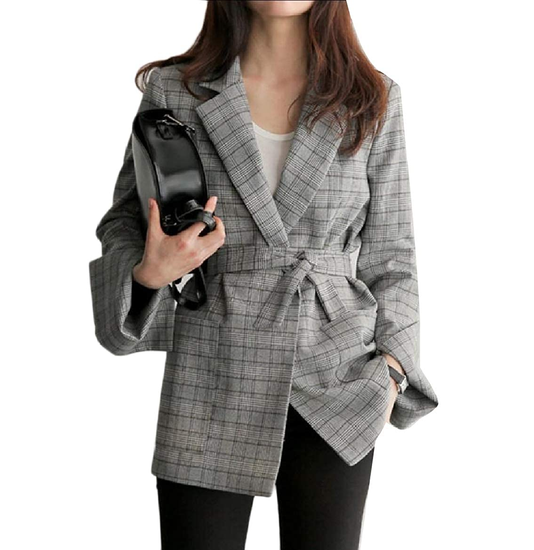 As Picture TaoNice Women Office Open Front Blazer Plaid Premium Classics Jacket Suit