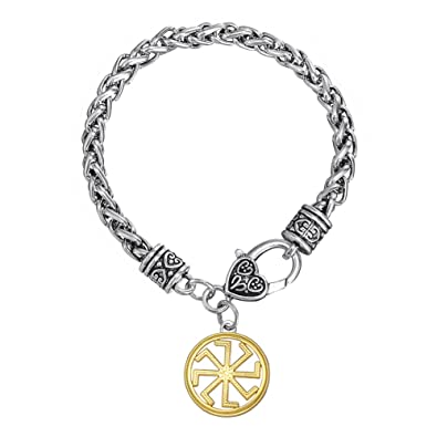 cfdcebeb89f0 Skyrim Unique eslavo Kolovrat Amuleto Pagan Sun Talisman Colgante bijouterie  Pulsera para Hombres y Mujeres  Amazon.es  Joyería