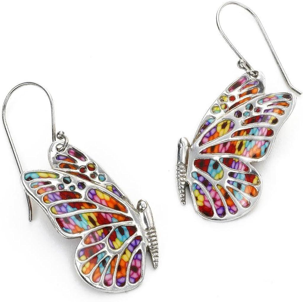 Image of 925 Sterling Silver Butterfly Dangle Earrings Handmade Polymer Clay Jewelry Drop & Dangle Adina Plastelina Handmade Jewelry B009KYEJMW