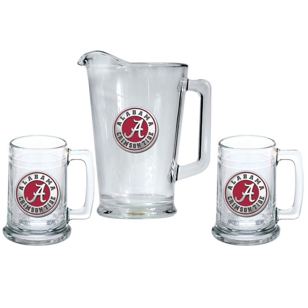 Heritage Metalwork Alabama Crimson Tide Bama Pitcher and 2 Stein Glass Set Beer Set