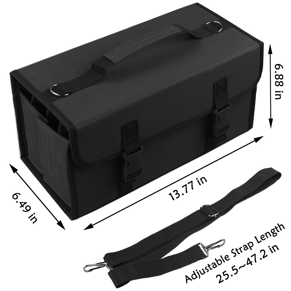 ADVcer Marker Case 120 Storage Holders, Foldable Extendable Oxford Organizer with Carrying Handle, Shoulder Strap, QR Buckle for Copic Marker, Prismacolor Marker, Dry Erase Color Paint Markers, Black by ADVcer (Image #5)