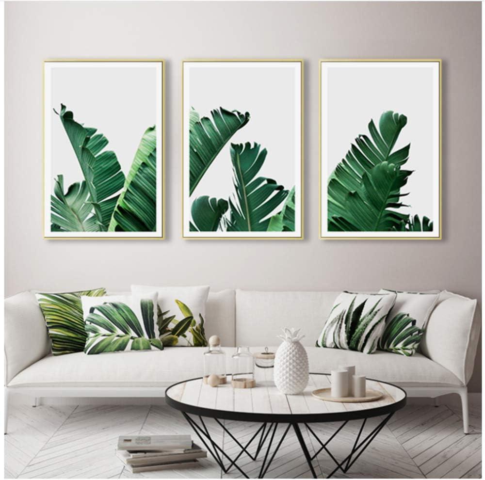 "KELEQI Canvas Art Painting Poster Print Banana Picture Wall Nordic Modern Minimalist Green Plant Living Room Home Decor-19.6""x 27.5""(50x70cm) X3 No Frame"