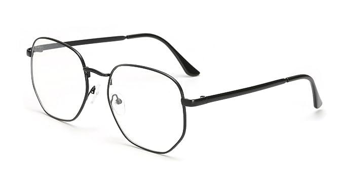 4dfd4f3fd80 ... to buy f0d87 d0b7b Kalens Modern Geometric Metal Slim Frame Clear Lens  Hexagonal Prescription Glasses Black ...