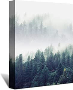 Looife Nature Forest Wall Art on Canvas, 16x24 Inch Misty Trees Landscape Giclee Artwork Wall Decor for Living Room and Bedroom