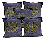 5Pcs-100Pcs Amazing India Dark Blue Cotton Jari Embroidered Work Beautiful Cushion Covers Wholesale Lot