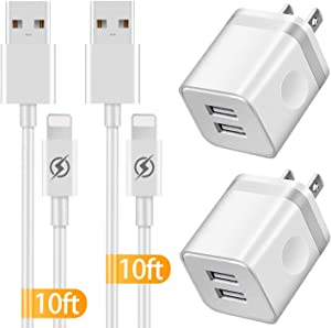 IVELLTARE Phone Charger 10 ft Cable with Wall Plug (4 Pack), Dual USB Wall Charger Block with 2X10 Foot Long Charging Cord Compatible with Phone 11/11 Pro/11 Pro Max/Xs/Xs Max/XR/X 8/7/6/6S Plus, Pad