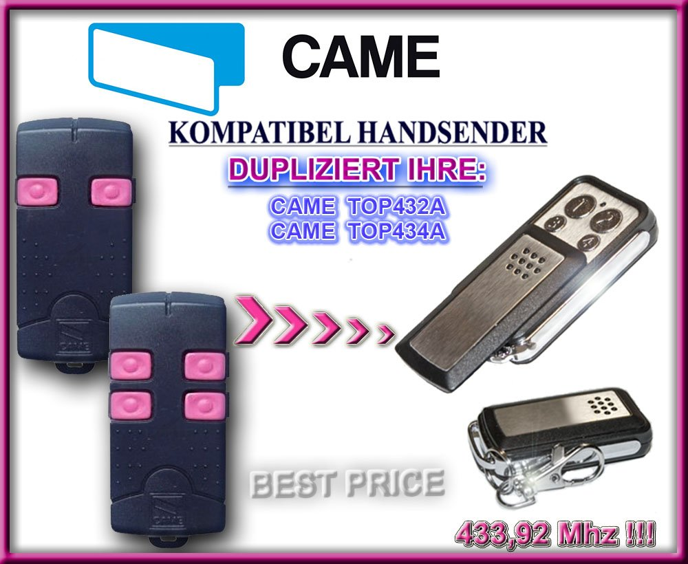 CAME TOP434A kompatibel handsender klone fernbedienung 4-kanal 433,92Mhz fixed code Top Qualit/ät Kopierger/ät!!! CAME TOP432A