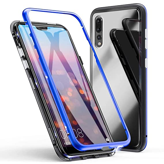 best website 8248c a18a5 Eabuy Huawei P20 Pro Case, Tempered Glass Hard Back Cover Magnetic  Adsorption Aluminum Alloy Bumper [No Tempered Glass in Front] Case Cover  for Huawei ...