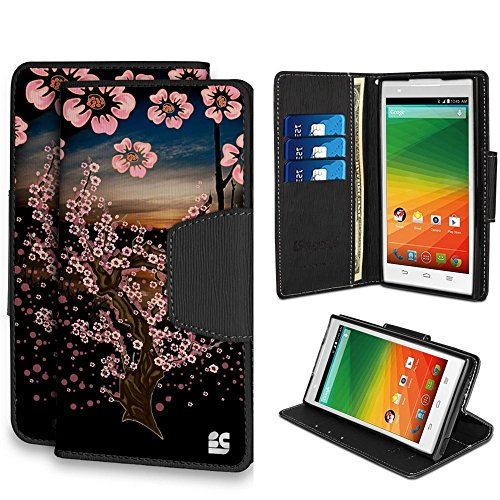 Infolio Wallet Case For ZTE Z Max Z970 PU Leather TPU Case Card Slot Bill Fold Magnetic Flap Kickstand Black Black With Black Gel Sunset Sakura