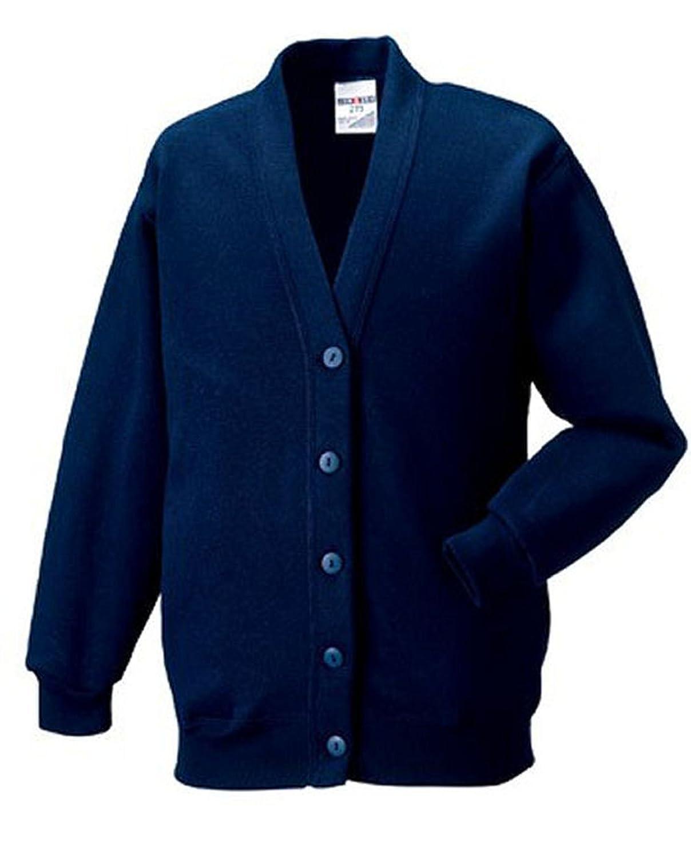 Jerzees - Gilet - - Col à boutons - Manches longues Fille Marron Marron - Bleu - Bleu marine - 5 ans