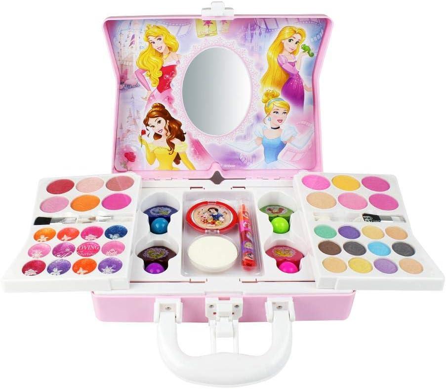 Tawcal Disney Kit de maquillaje cosmético, princesa, juego de maquillaje, juego de maquillaje lavable para niña, maleta de maquillaje, palillo de labios, sombra de ojos, colorete para niños juguetes para niña pequeña: