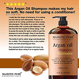 Majestic Pure Argan Oil Shampoo, Offers Vitamin Enriched Gentle Hair Restoration Formula for Daily Use, Sulfate Free, Moroccan Oil & Potent Natural Ingredients, for Men and Women 16 fl. oz