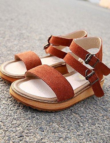 ShangYi Womens Shoes Flat Heel Comfort/Open Toe Sandals Casual Brown/Green Camel