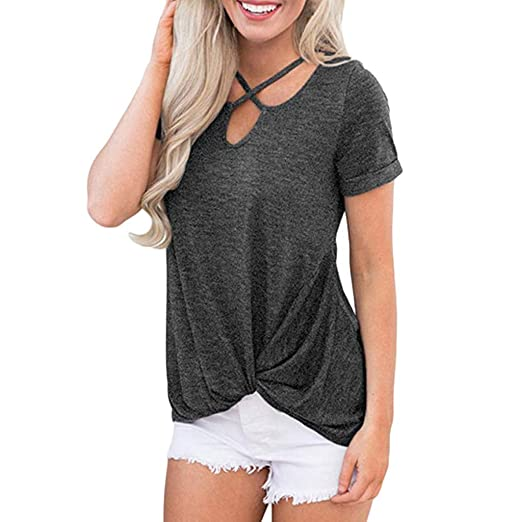 4ad1b8fcaa0 VANSOON Women Tunic Tops Short Sleeve Knot Shirts Front Cross V-Neck Tunic  Loose Blouse Tops Crop Top for Teen Girl at Amazon Women's Clothing store: