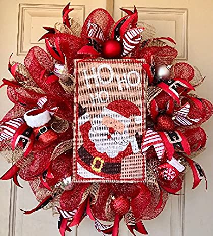 santa clause christmas wreath with cute ho ho ho burlap sign and other