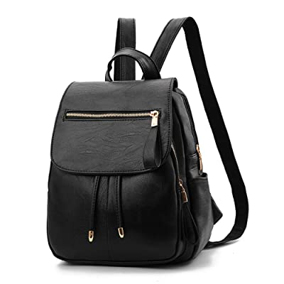 hot sale 2017 SJMMBB Soft leather leisure fashion bag students travel backpack,black,30X24X13CM