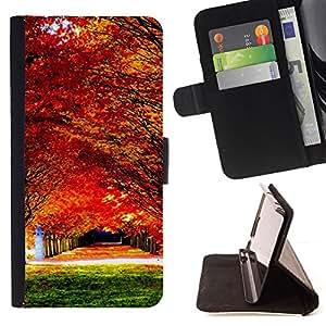 - Autumn maple forest - - Monedero PU titular de la tarjeta de cr????dito de cuero cubierta de la caja de la bolsa FOR Sony Xperia Z2 D6502 RetroCandy