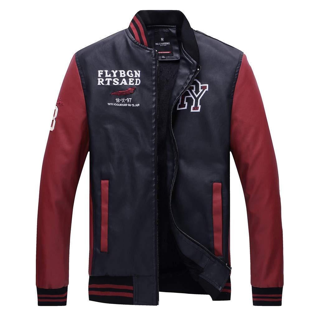 KASAAS Mens Leather Jackets Patchwork Zipper Stand Collar Casual Sport Lightweight Outdoor Windbreaker Coat Tops