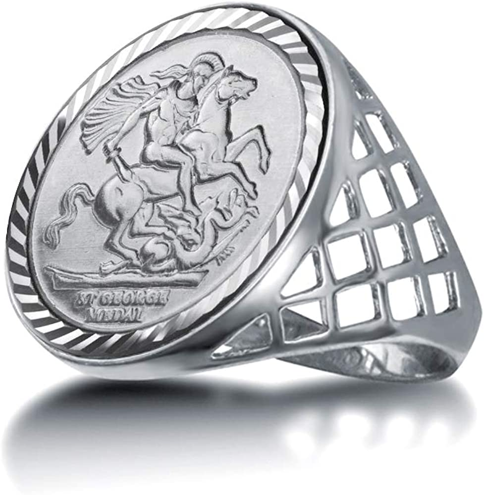 Jewelco London Mens Solid Sterling Silver St George Dragon Slayer Basket Half-Sovereign-Size Ring Size not a sovereign coin