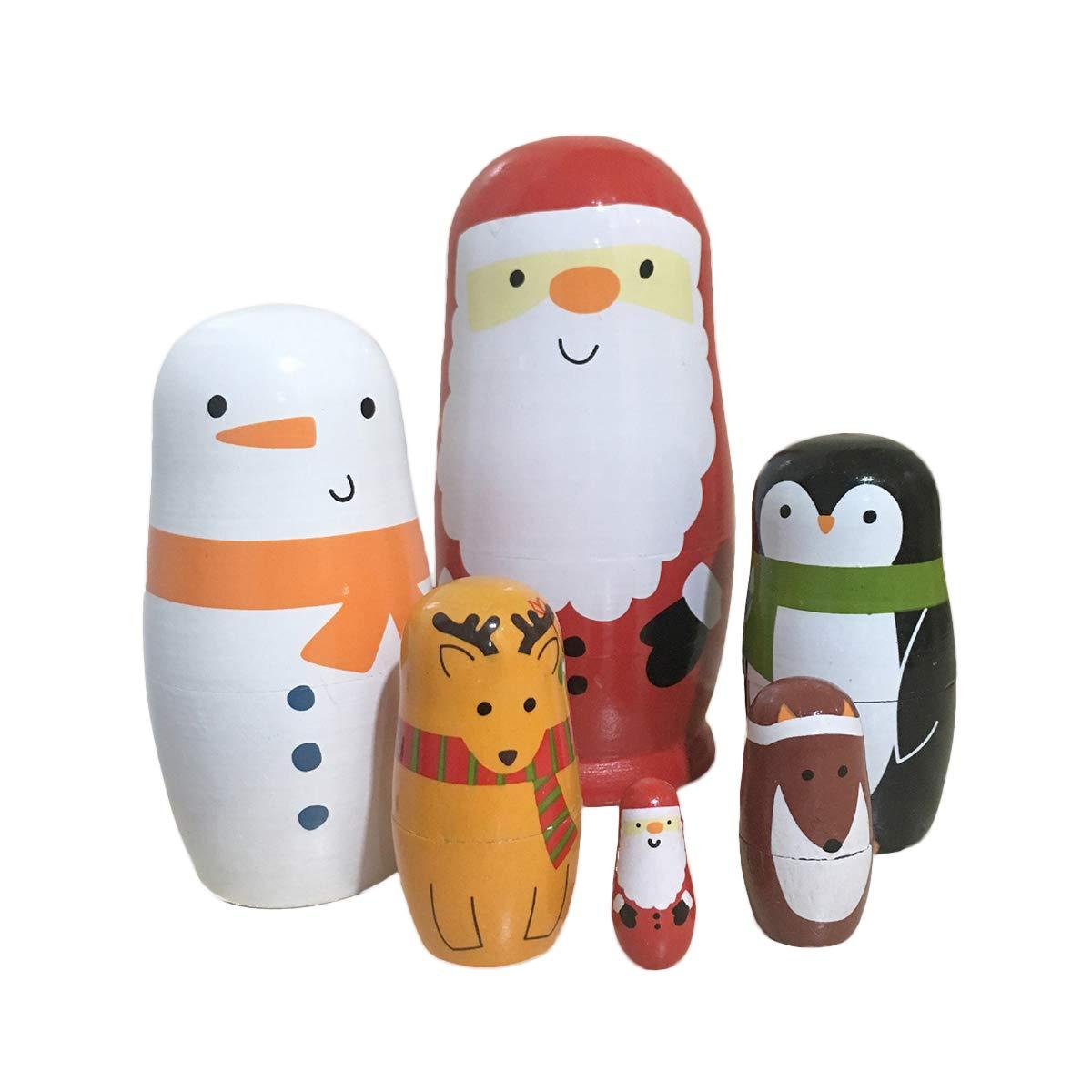 Toyvian 6pcs Nesting Dolls Russian Stacking Dolls Matryoshka Wood Penguins