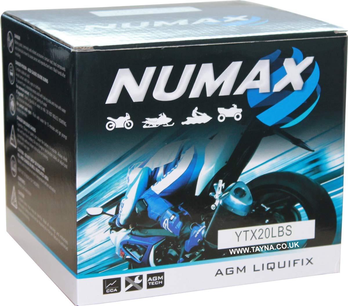 Batterie moto Numax Premium AGM avec pack acide YTX20L-BS 12V 18Ah 270A Numax