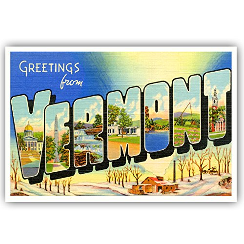 GREETINGS FROM VERMONT vintage reprint postcard set of 20 identical postcards. Large letter US state name post card pack (ca. 1930's-1940's). Made in USA.