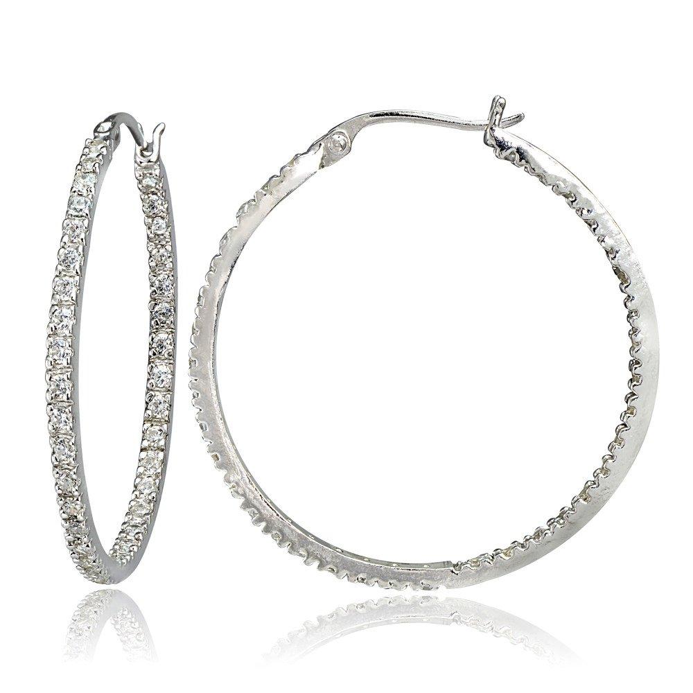 Hoops & Loops Sterling Silver Cubic Zirconia Inside Out 35mm Round Hoop Earrings