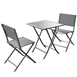 Giantex 3 Pcs Bistro Set Garden Backyard Table Chairs Outdoor Patio Furniture Folding