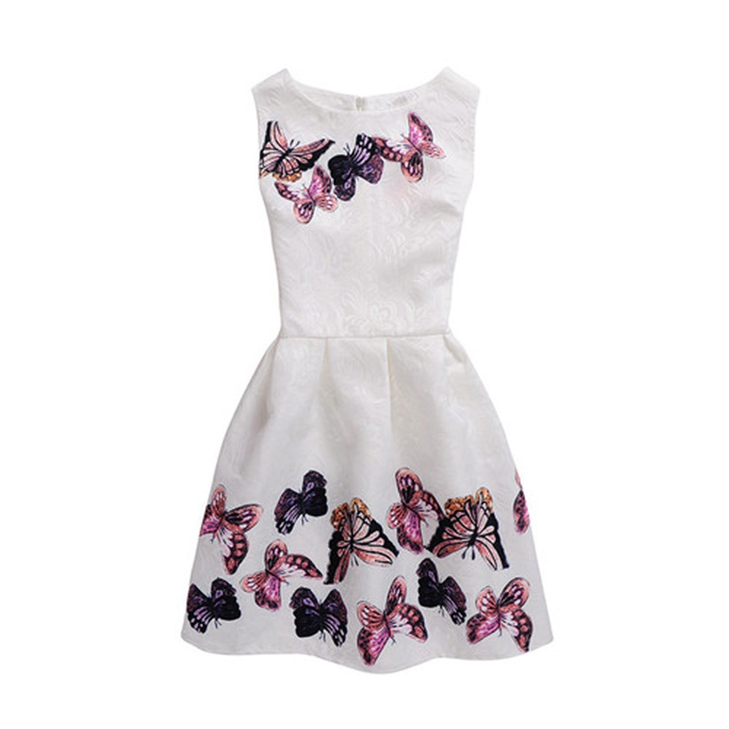 772ca693a9f0 Amazon.com  Frozac Summer Kids Dresses for Girl Butterfly Floral Printed  Sleeveless Casual Girl Dresses Age 6 8 9 10 11 12 16 Year Party Dress