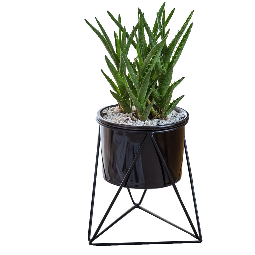 MuLuo Ceramic Succulents Plants Planter Geometric Iron Rack Holder Metal Stand Desktop Garden Cactus Flower Pot