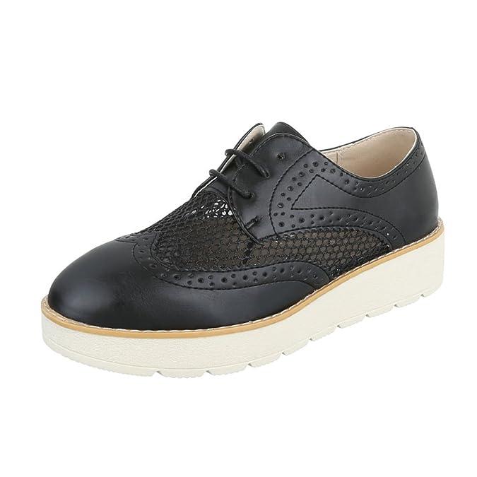 Ital-Design - Zapatos Planos con Cordones Mujer , color dorado, talla 39