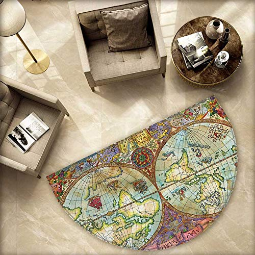 Watercolor Bath mats for Floors Vintage World Map Antique Grunge Drawings Mystic Symbols Adventure Discovery Bathroom Mats Half MoonH 74.8' xD 112.2' Multicolor