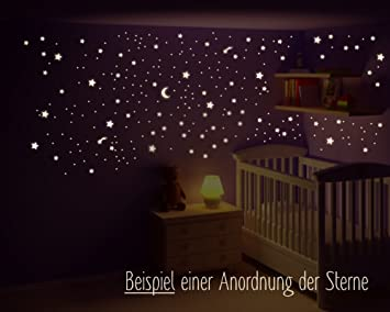Kinderzimmer sterne  Wandtattoo Sternenhimmel mit Mond, fluoreszierende Sterne ...