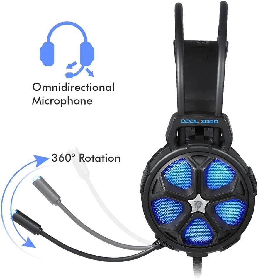 HUIGE Gaming Headset for PS4 New with LED 3.5mm Gaming Headset Stereo Gaming Microphone Over-Ear Headphone Headset Headband with Noise Cancelling Volume Control