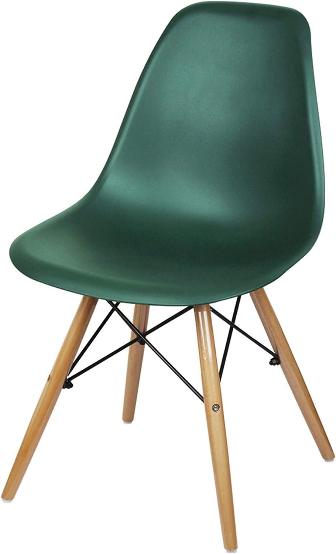 GIA Mid-Century Plastic Chair, 2-Pack, Dark Emerald Green/Wood Legs