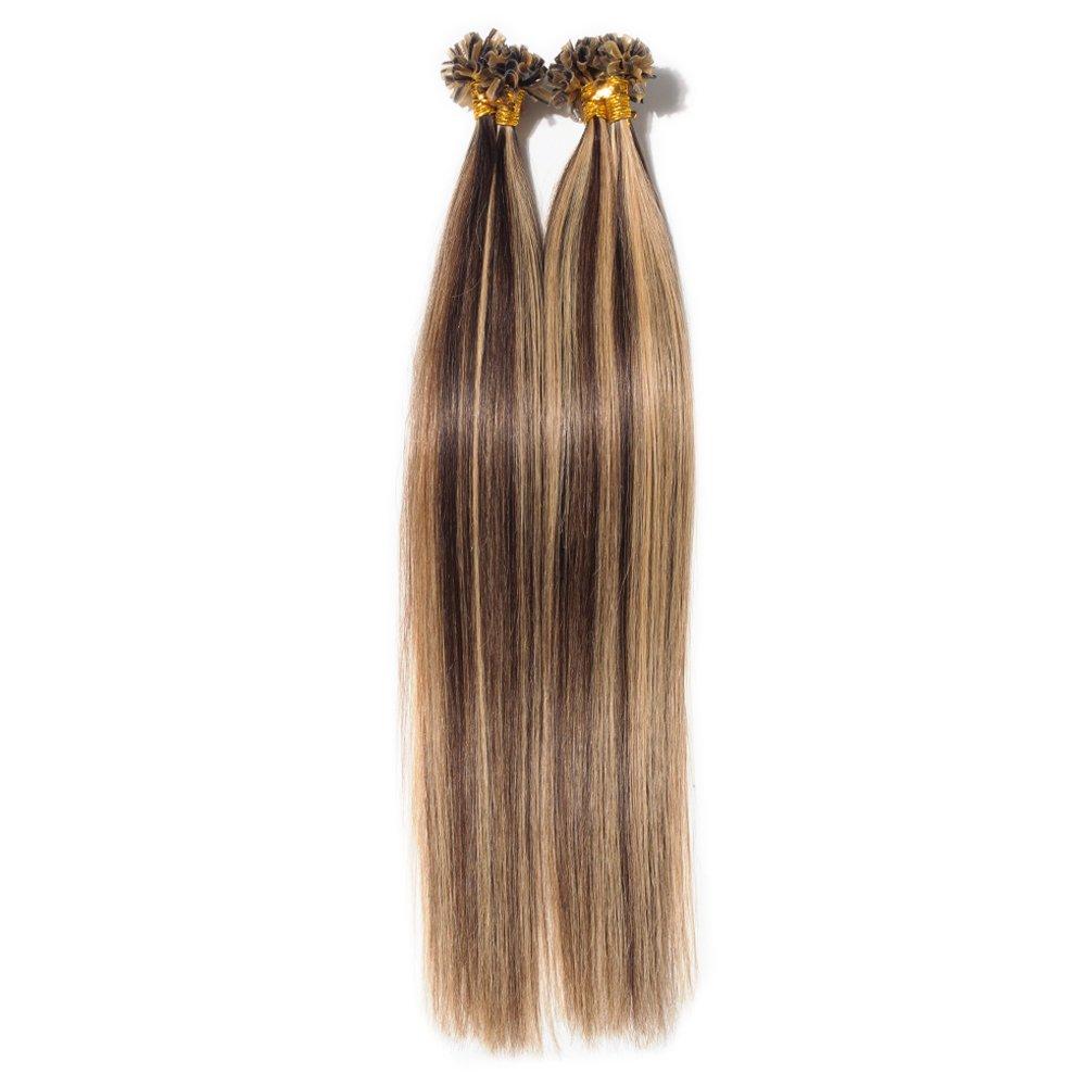 Extension Capelli Veri Cheratina 100 Ciocche - 40cm #4 Marrone Cioccolato - 100% Remy Human Hair Pre Bonded U Tip Nail Hair Capelli Naturali Lisci 0.5g/fascia Elailite