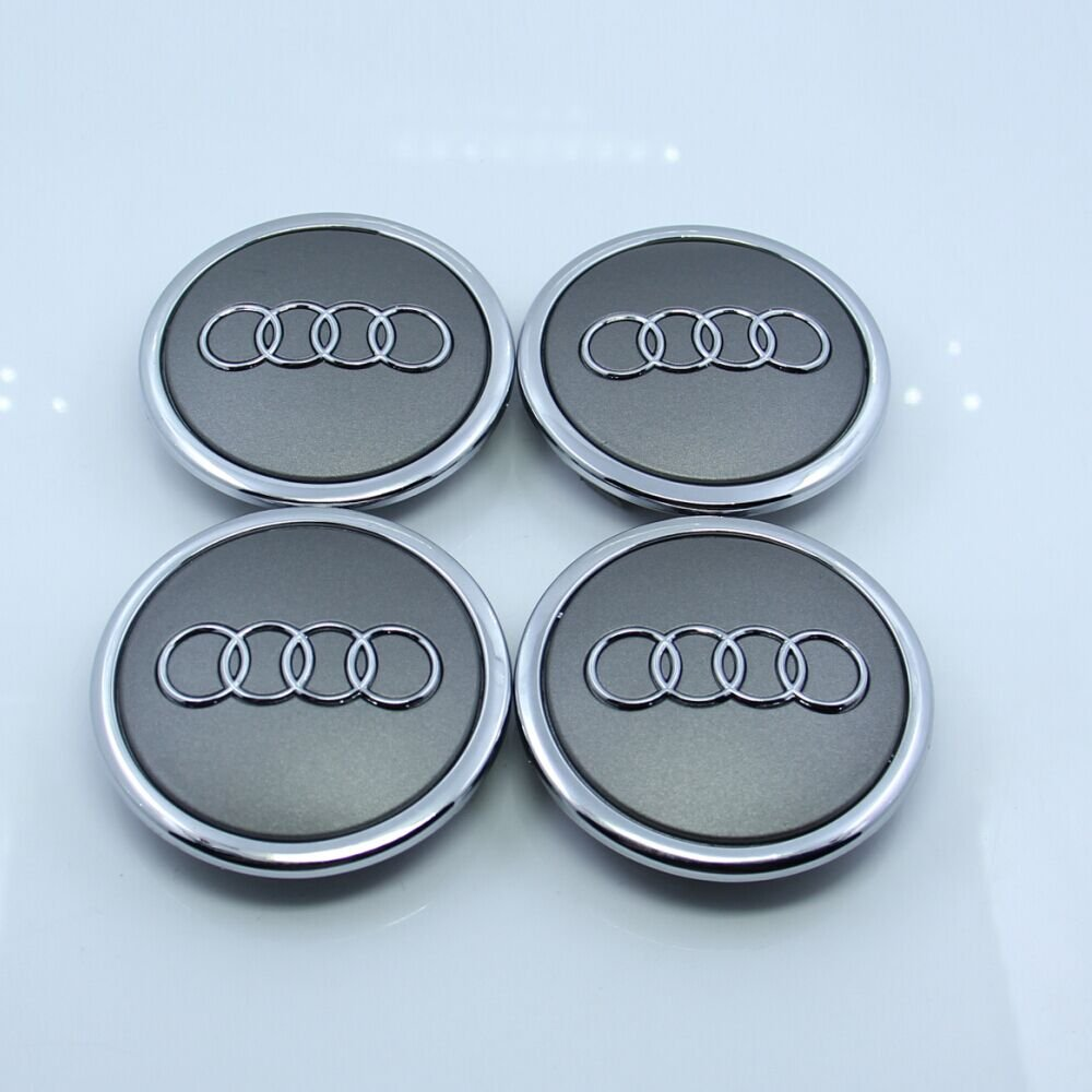 ZZHF1 Wheel Centre Hub Caps 69mm For Audi Badge Emblem 4B0601170A (4Pcs) (Gray)