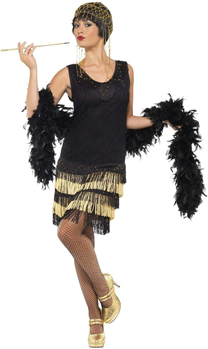 Ladies Black//Gold Beaded 1920s Flapper Fancy Dress Costume Outfit Size 8-18