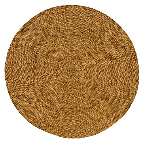 Iron Gate Handspun Jute Braided Area Rug 6 feet round, Handmade by Skilled Artisans, 100% Natural ecofriendly Jute yarns, Thick ribbed construction, Reversible for double the wear, Rug pad recommended