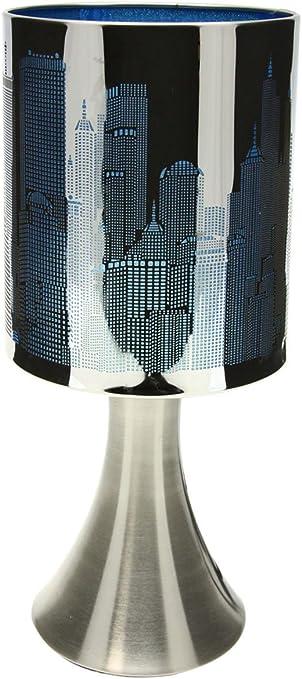 Lampe De Chevet Touch Tactile 3 Intensités Lumineuses E14 S Allume Au Toucher Noir