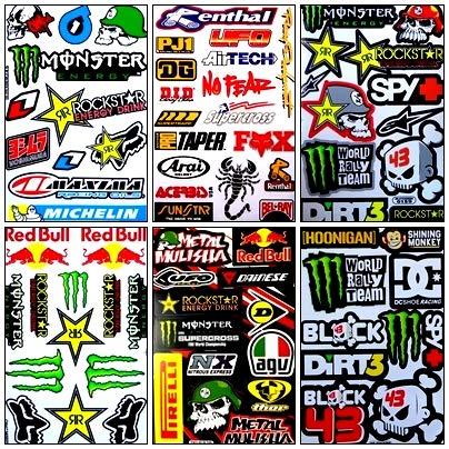 (Decal Sticker Rockstar Energy Metal Mulisha Motocross Graphic Logo Racing 6 Sheet ##ST77)