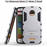 Heartly Graphic Designed Kick Stand Hard Dual Rugged Armor Hybrid Bumper Back Case Cover For Motorola Moto Z / Moto Z Droid - Champagne Silver